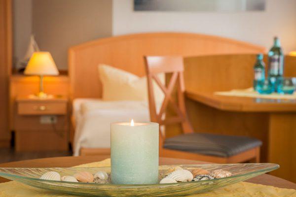 Ferienwohnungen auf der Insel Rügen im Ostseebad Baabe – Schlafzimmer vom 1-Raum-Appartement im Haus Hanseatic